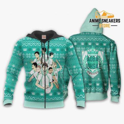 Aoba Johsai Ugly Christmas Sweater Haikyuu Anime Xmas Shirt Va10 Zip Hoodie / S All Over Printed