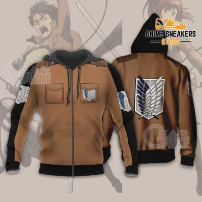 Attack On Titan Scout Jacket Cloak Costume Anime Shirt Zip Hoodie / S All Over Printed Shirts