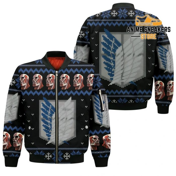 Attack On Titan Shirt Scout Ugly Christmas Sweater Jacket Costume Bomber / S All Over Printed Shirts