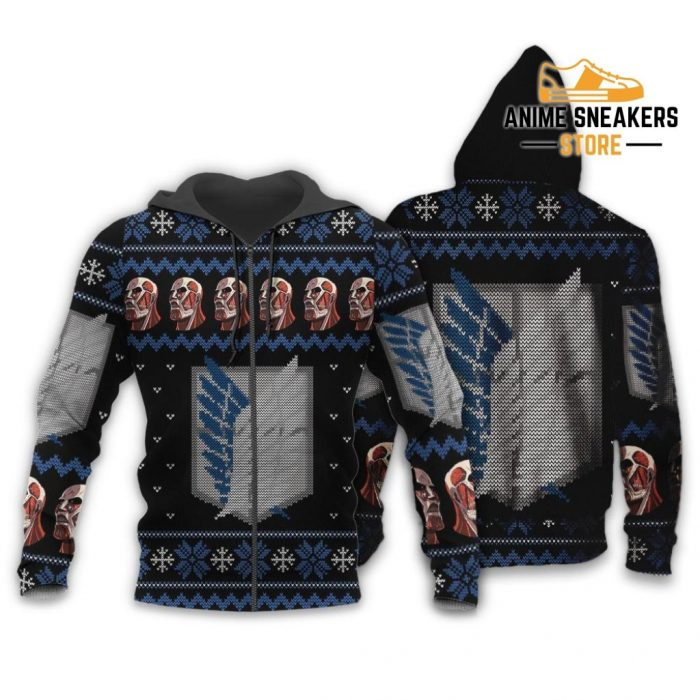 Attack On Titan Shirt Scout Ugly Christmas Sweater Jacket Costume Zip Hoodie / S All Over Printed