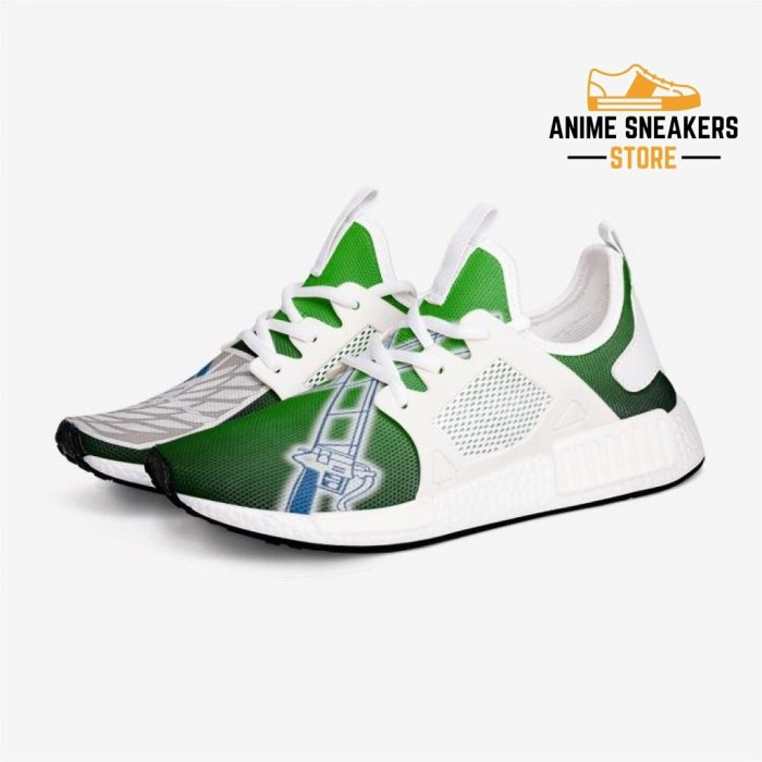 Attack On Titan Survey Corps Grn Custom Nomad Shoes 3 / White Mens