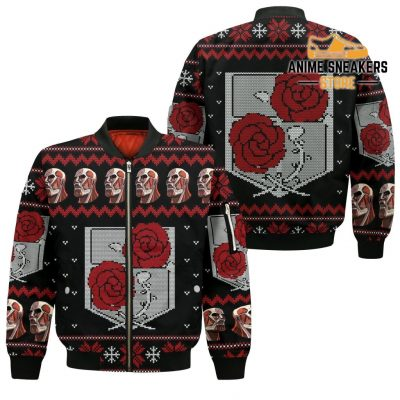 Attack On Titan Ugly Christmas Sweater Garrison Xmas Gift Custom Clothes Bomber Jacket / S All Over