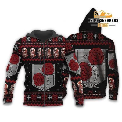 Attack On Titan Ugly Christmas Sweater Garrison Xmas Gift Custom Clothes Zip Hoodie / S All Over