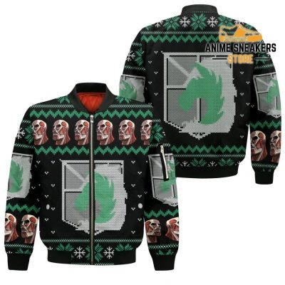 Attack On Titan Ugly Christmas Sweater Military Badged Police Xmas Gift Custom Clothes Bomber Jacket