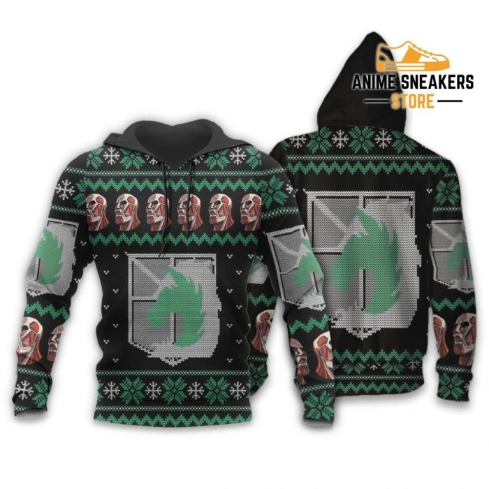 Attack On Titan Ugly Christmas Sweater Military Badged Police Xmas Gift Custom Clothes Hoodie / S