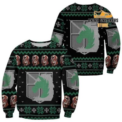 Attack On Titan Ugly Christmas Sweater Military Badged Police Xmas Gift Custom Clothes / S All Over