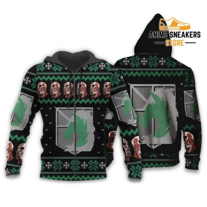 Attack On Titan Ugly Christmas Sweater Military Badged Police Xmas Gift Custom Clothes Zip Hoodie /