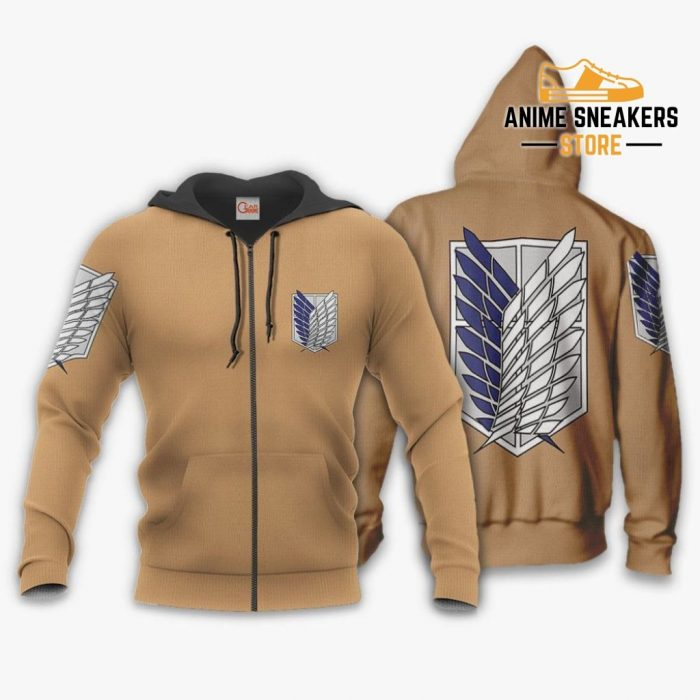 Aot Wings Of Freedom Scout Shirt Costume Attack On Titan Hoodie Sweater Zip / S All Over Printed