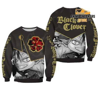 Black Clover Asta Shirt Five Leaf Symbol Anime Hoodie Sweater / S All Over Printed Shirts