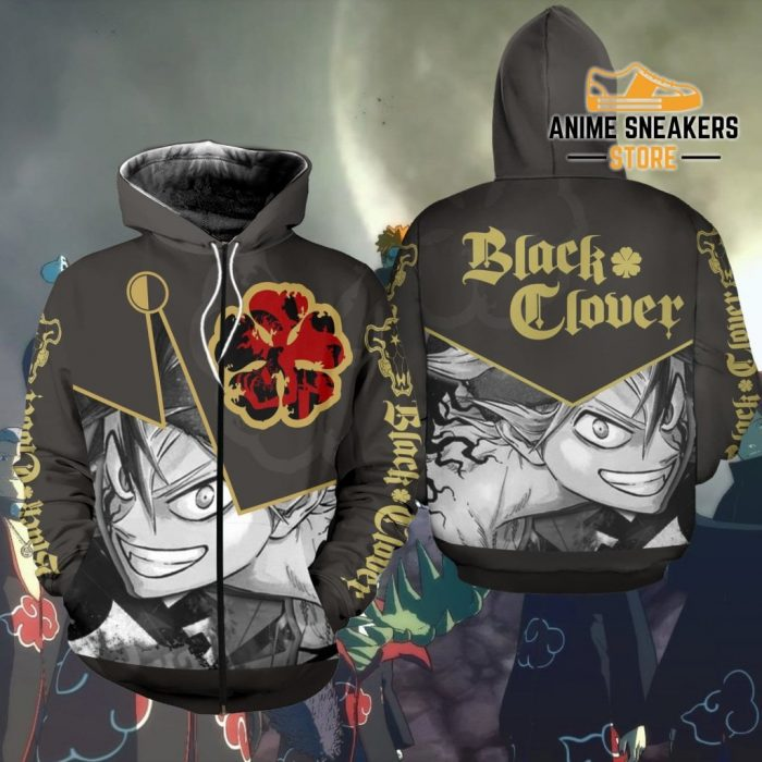 Black Clover Asta Shirt Five Leaf Symbol Anime Hoodie Sweater Zip / S All Over Printed Shirts