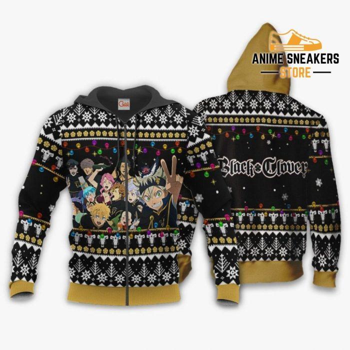 Black Bull Ugly Christmas Sweater Clover Anime Xmas Gift Va11 Zip Hoodie / S All Over Printed Shirts