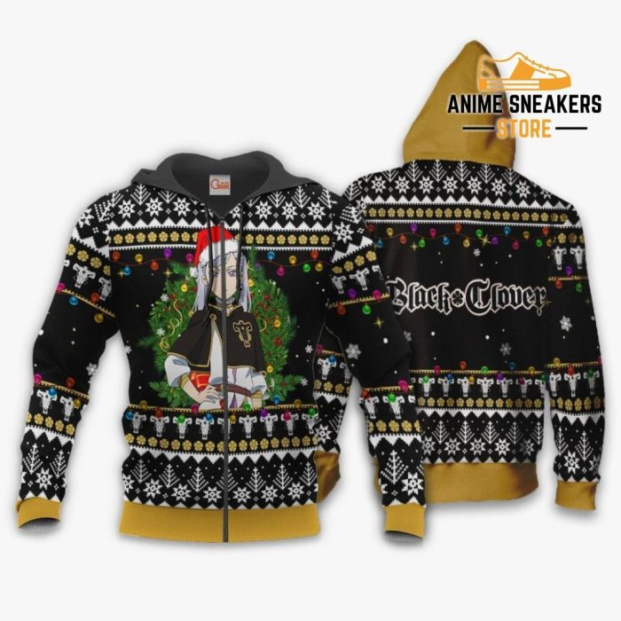 Noelle Silva Ugly Christmas Sweater Black Clover Anime Xmas Gift Va11 Zip Hoodie / S All Over
