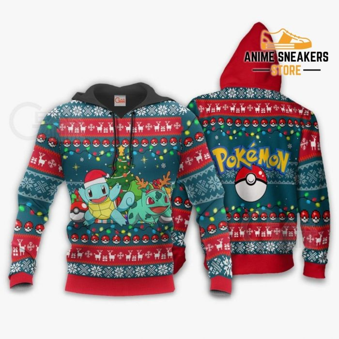 Bulbasaur And Squirtle Ugly Christmas Sweater Pokemon Xmas Gift Va11 Hoodie / S All Over Printed