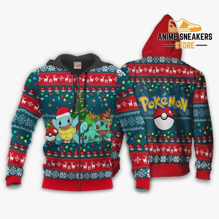 Bulbasaur And Squirtle Ugly Christmas Sweater Pokemon Xmas Gift Va11 Zip Hoodie / S All Over Printed