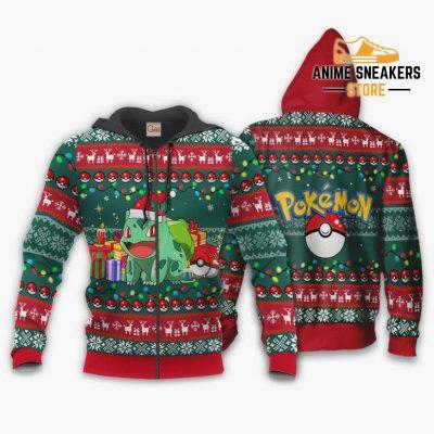 Bulbasaur Ugly Christmas Sweater Pokemon Anime Xmas Gift Va11 Zip Hoodie / S All Over Printed Shirts
