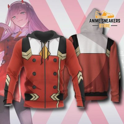 Code 002 Zero Two Uniform Hoodie Darling In The Franxx Jacket Zip / S All Over Printed Shirts