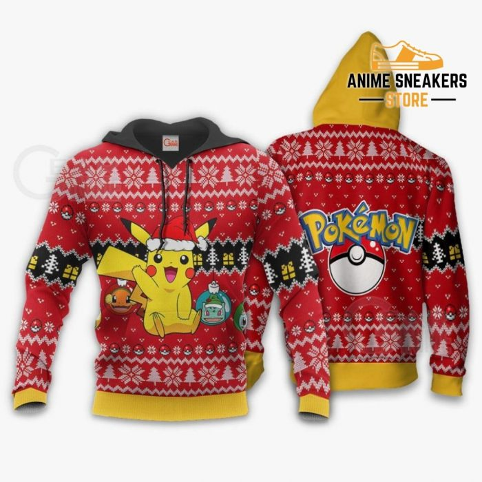 Cute Pikachu Ugly Christmas Sweater Pokemon Anime Xmas Gift Hoodie / S All Over Printed Shirts