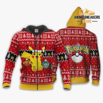 Cute Pikachu Ugly Christmas Sweater Pokemon Anime Xmas Gift Zip Hoodie / S All Over Printed Shirts