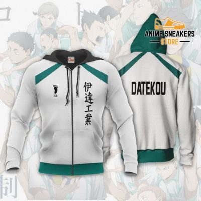 Date Tech High Haikyuu Anime Cosplay Costumes Volleyball Uniform Zip Hoodie / S All Over Printed