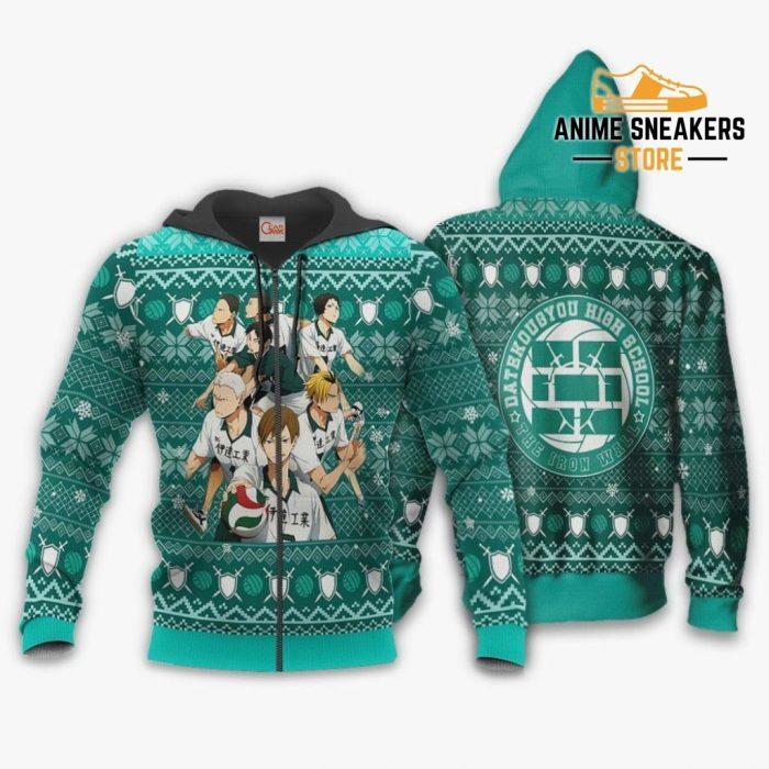 Dateko Ugly Christmas Sweater Date Tech High Haikyuu Xmas Va10 Zip Hoodie / S All Over Printed