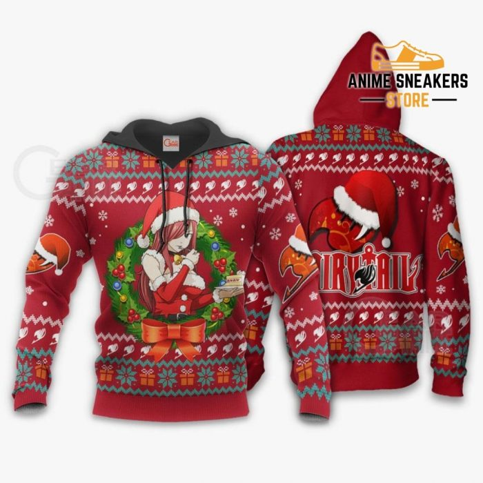Fairy Tail Erza Scarlet Ugly Christmas Sweater Anime Xmas Va11 Hoodie / S All Over Printed Shirts