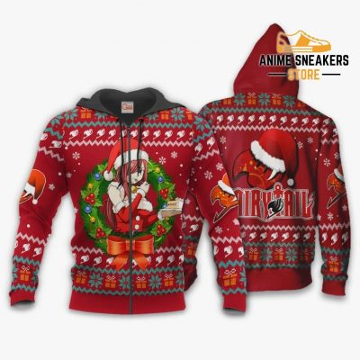 Fairy Tail Erza Scarlet Ugly Christmas Sweater Anime Xmas Va11 Zip Hoodie / S All Over Printed