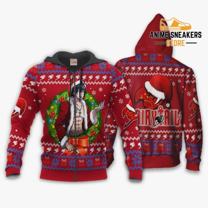 Fairy Tail Gray Fullbuster Ugly Christmas Sweater Anime Xmas Va11 Zip Hoodie / S All Over Printed