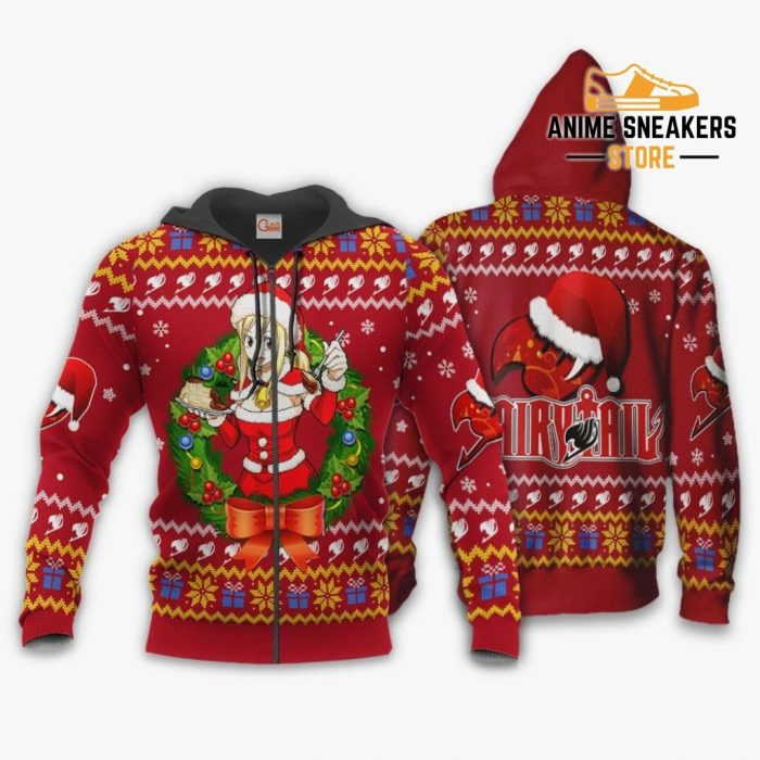 Fairy Tail Lucy Heartfilia Ugly Christmas Sweater Anime Xmas Va11 Zip Hoodie / S All Over Printed
