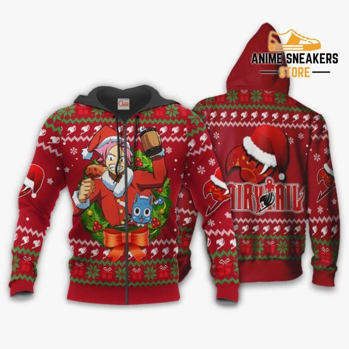 Fairy Tail Natsu Dragneel Ugly Christmas Sweater Anime Xmas Va11 Zip Hoodie / S All Over Printed