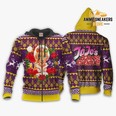 Giorno Giovanna Ugly Christmas Sweater Jojos Bizarre Adventure Anime Va11 Zip Hoodie / S All Over
