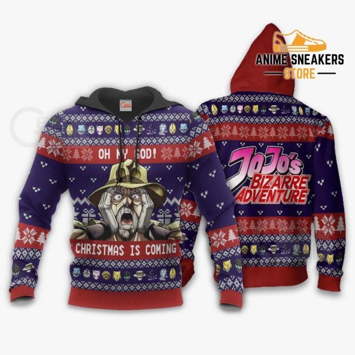 Joseph Joestar Ugly Christmas Sweater Oh My God Jojos Anime Va11 Hoodie / S All Over Printed Shirts