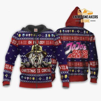 Joseph Joestar Ugly Christmas Sweater Oh My God Jojos Anime Va11 Zip Hoodie / S All Over Printed