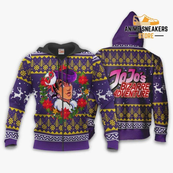 Josuke Higashikata Ugly Christmas Sweater Jojos Bizarre Adventure Anime Va11 Zip Hoodie / S All Over