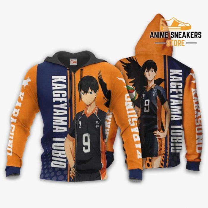 Karasuno Kageyama Tobio Hoodie Haikyuu Custom Anime Shirt Zip / S All Over Printed Shirts
