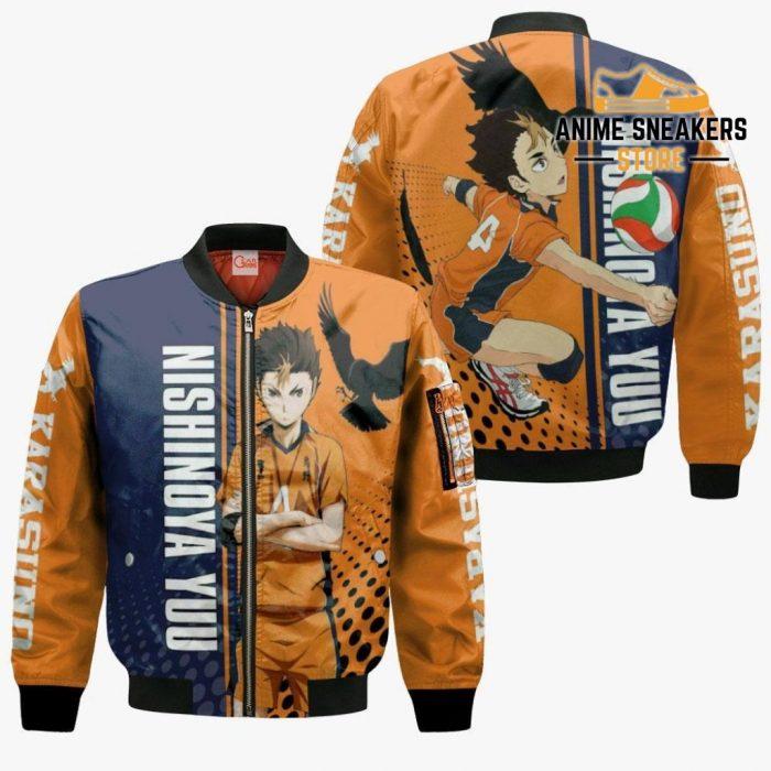 Karasuno Nishinoya Yuu Hoodie Haikyuu Custom Anime Shirt Bomber Jacket / S All Over Printed Shirts