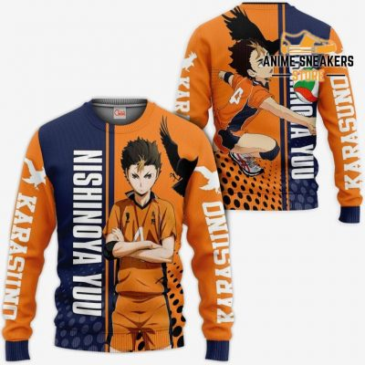 Karasuno Nishinoya Yuu Hoodie Haikyuu Custom Anime Shirt Sweater / S All Over Printed Shirts