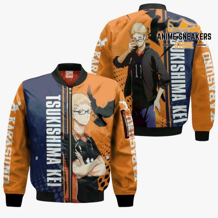 Karasuno Tsukishima Kei Hoodie Haikyuu Custom Anime Shirt Bomber Jacket / S All Over Printed Shirts