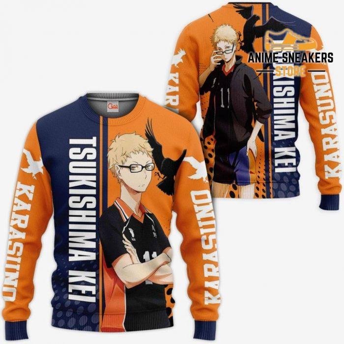 Karasuno Tsukishima Kei Hoodie Haikyuu Custom Anime Shirt Sweater / S All Over Printed Shirts