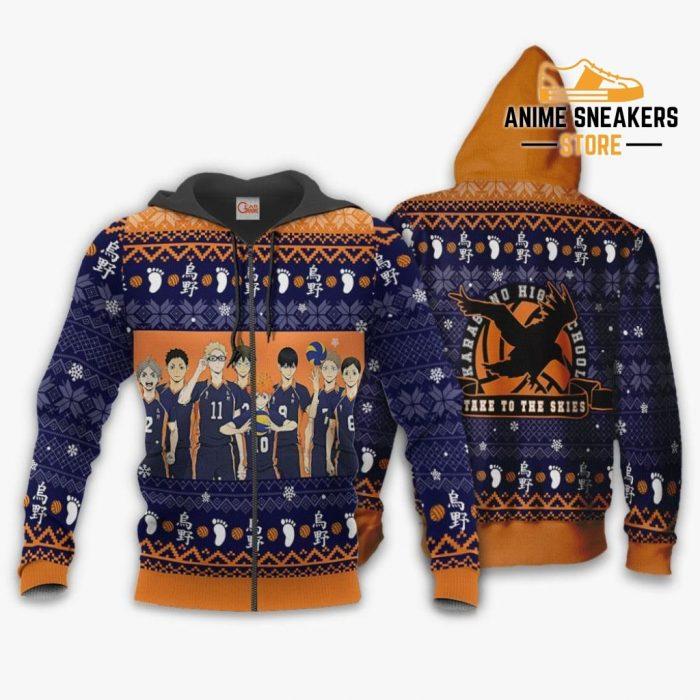 Karasuno Ugly Christmas Sweater Haikyuu Anime Xmas Shirt Va10 Zip Hoodie / S All Over Printed Shirts