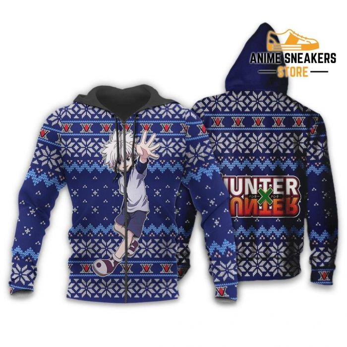 Killua Ugly Christmas Sweater Hunter X Anime Xmas Gift Custom Clothes Zip Hoodie / S All Over
