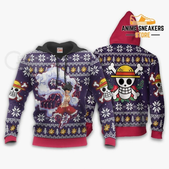 Luffy Gear 4 Ugly Christmas Sweater One Piece Anime Xmas Gift Va10 Hoodie / S All Over Printed