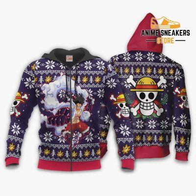 Luffy Gear 4 Ugly Christmas Sweater One Piece Anime Xmas Gift Va10 Zip Hoodie / S All Over Printed
