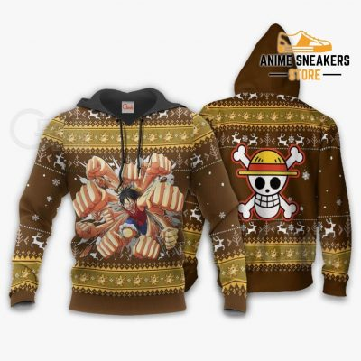 Luffy Gomu Ugly Sweater Xmas One Piece Anime Chrismast Gift Va10 Hoodie / S All Over Printed Shirts