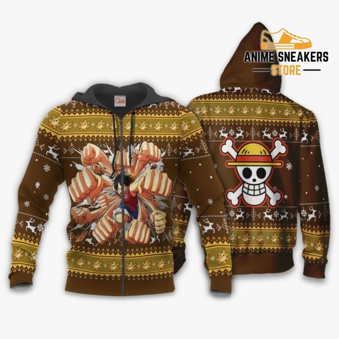 Luffy Gomu Ugly Sweater Xmas One Piece Anime Chrismast Gift Va10 Zip Hoodie / S All Over Printed