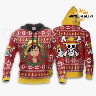 Luffy Ugly Christmas Sweater Funny Face One Piece Anime Xmas Gift Va10 Hoodie / S All Over Printed