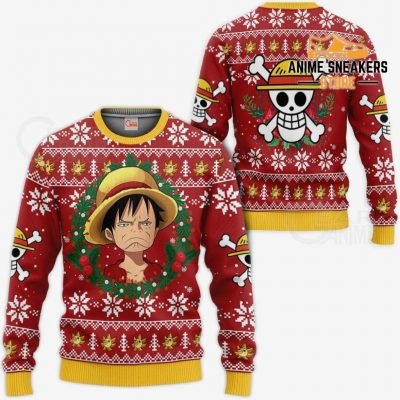 Luffy Ugly Christmas Sweater Funny Face One Piece Anime Xmas Gift Va10 / S All Over Printed Shirts