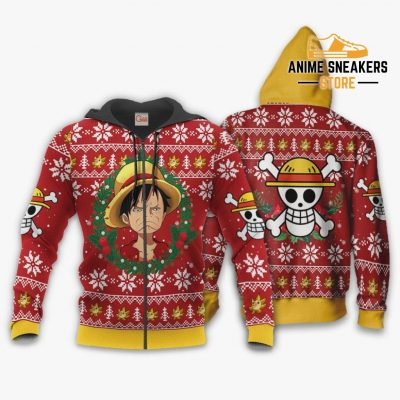 Luffy Ugly Christmas Sweater Funny Face One Piece Anime Xmas Gift Va10 Zip Hoodie / S All Over