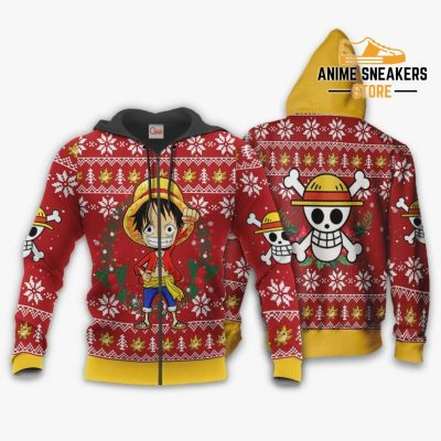 Luffy Ugly Christmas Sweater One Piece Anime Xmas Shirt Va10 Zip Hoodie / S All Over Printed Shirts