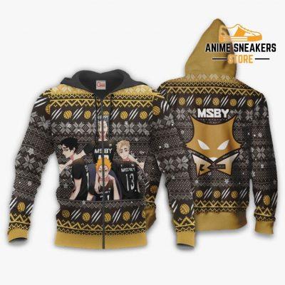 Msby Black Jackals Ugly Christmas Sweater Haikyuu Anime Xmas Gift Va10 Zip Hoodie / S All Over