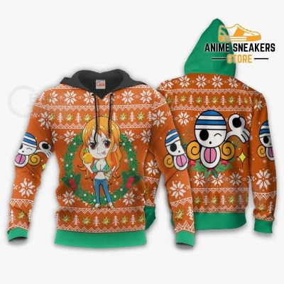 Nami Ugly Christmas Sweater One Piece Anime Xmas Gift Va10 Hoodie / S All Over Printed Shirts